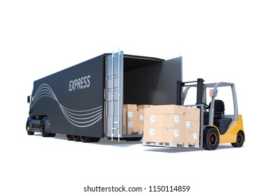Rear view of electric semi truck and forklift isolated on white background. 3D rendering image.