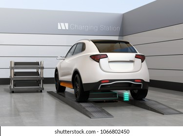 Rear view of electric SUV car exchange battery in battery swapping station. Fast battery exchange solution.  3D rendering image.