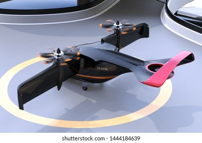 Rear view of E-VTOL passenger aircraft waiting for takeoff from airport. Solar panel mounted on the wings. Urban Passenger Mobility concept. 3D rendering image.