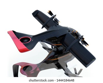 Rear view of E-VTOL passenger aircraft isolated on white background with reflection. Solar panel mounted on the wings. Urban Passenger Mobility concept. 3D rendering image.