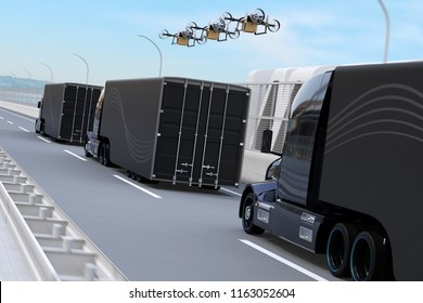 Rear view of fleet of American Trucks, cargo drones driving on the highway. Logistics and transportation concept. 3D rendering image.
