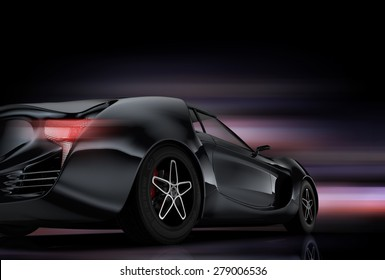 Rear view of metallic gray sports car with colorful glow effect. Original design. 3D rendering image.