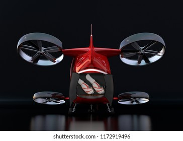 Rear view of Red Passenger Drone on black background. Rear hatch opened with two golf bags inside. 3D rendering image.