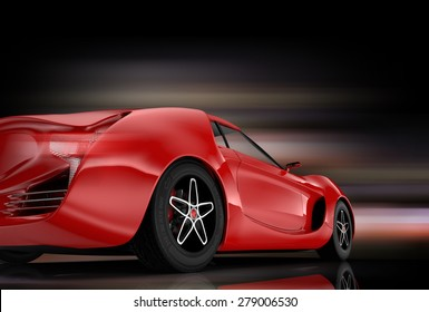 Rear view of red sports car with colorful glow effect. Original design. 3D rendering image.