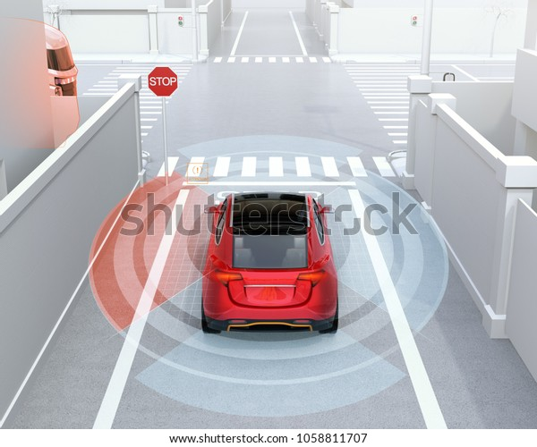 Rear view of red SUV in one-way street detected vehicle left side in the blind spot. Connected car concept. 3D rendering image.