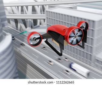 Rear view of red VTOL drone carrying delivery packages flying in the sky. Concept for fast delivery service. 3D rendering image.