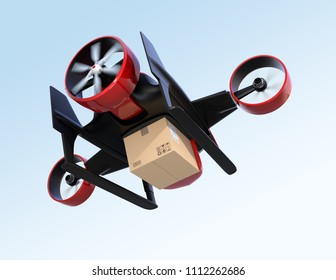 Rear view of red VTOL drone carrying delivery package flying in the sky. 3D rendering image.