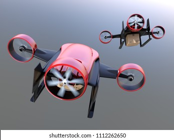 Rear view of red VTOL drones carrying delivery packages flying in the sky. 3D rendering image.