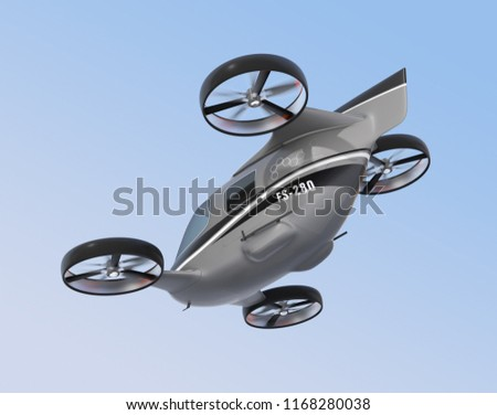 Rear view of self driving Passenger Drone flying in the sky. 3D rendering image.