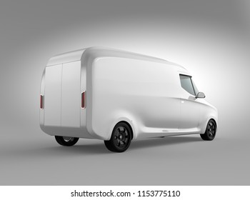 Rear view of white electric powered delivery van on gray background. Copy space on the body. 3D rendering image.