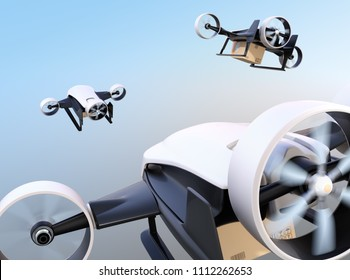 Rear view of white VTOL drones carrying delivery packages flying in the sky. 3D rendering image.