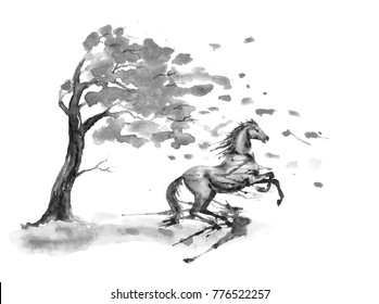 Rearing up horse with ink or watercolor blots stains and autumn tree with fall leaves on white. Black and white monochrome Hand drawing art of black stallion. England equestrian fox hunting style