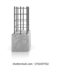 Rebar steel in reinforced concrete block on white background. 3D render.