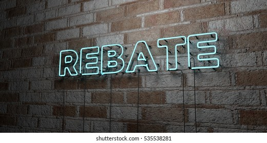 REBATE - Glowing Neon Sign on stonework wall - 3D rendered royalty free stock illustration.  Can be used for online banner ads and direct mailers.