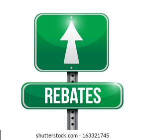 rebates road sign illustration design over a white background