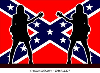 Rebel Flag behind the silhouette of two girl guitarists