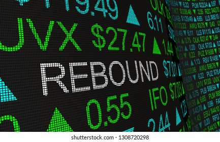 Rebound Stock Market Rally Prices Up Ticker 3d Illustration