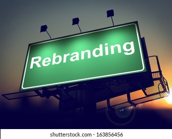 Rebranding - Green Billboard on the Rising Sun Background.