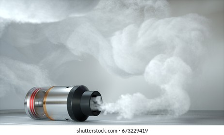 Rebuildable dripping atomizer in vape clouds. 3d render