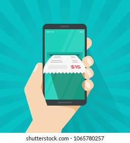 Receipt bill on smartphone illustration, flat cartoon paper invoice on mobile phone, cellphone electronic check on hand, internet digital banking concept, online tax payment image