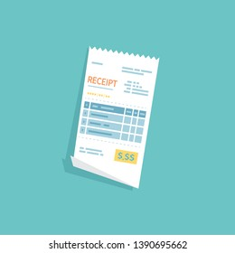 Receipt icon. Paper check, invoice, bill, order. Payment of goods, service, utility, restaurant.