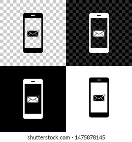 Received message concept. New email notification on the smartphone screen icon on black, white and transparent background. New message on the phone screen. Mail delivery service