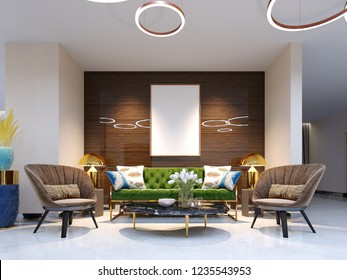 Reception area and lounge area with beautiful colored furniture, a sofa with two armchairs, metal legs and soft upholstery. The painting on the wall, decorative flowerpots. 3d rendering