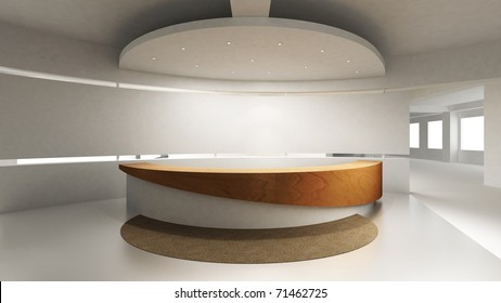 A reception area in an office block. Behind the reception counter is a blank wall for placing company logo.