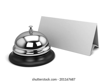 Reception bell and card. 3d illustration isolated on white background