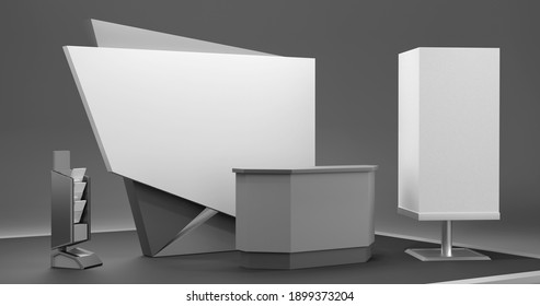 Reception and helping service stand. Black And White Exhibition Booth. Advertising POS POI Promotion counter, 3D rendering
