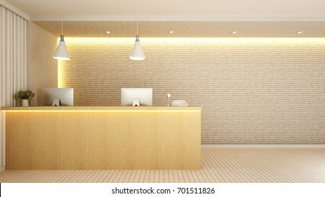 reception in lobby for artwork of hotel or Office - 3D Rendering