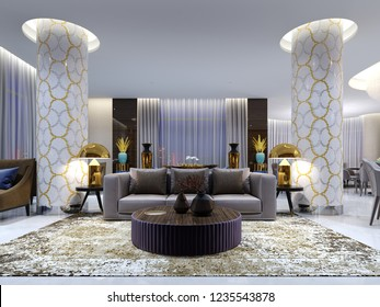 Reception and lounge area in hotel, Luxury sofa with two armchair with side tables with golden lamps and coffee table. 3d rendering