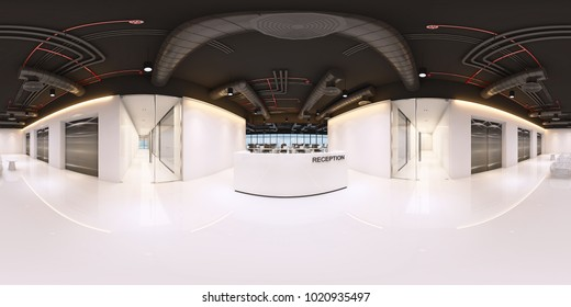 reception in a modern panoramic office,Panorama of reception in office interior,Full 360 spherical panorama view of reception,reception interior with white space (3D Rendering)