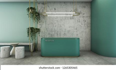 Reception shop design Modern & Loft Green counter,Gold metal light pendant, Wall green pastel color,Wall concrete,Furniture waiting zone concrete,Floor concrete  - 3D render