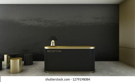 Reception shop design Modern,Top gold black counter,Gold metal light pendant, Wall grey gradient black color,Wall side gold metal,Furniture waiting zone gold/black ,Floor concrete  - 3D render