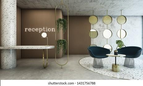 Reception shop scandinavian design,Counter top Granite gold plated steel,Neon text on beige wall,Concrete wall,Concrete floor,Waiting seat,Granite floor-3D render