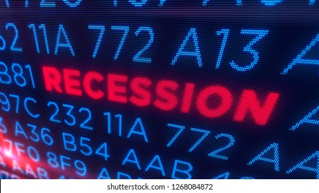 Recession business and stock crisis concept. Economy crash and markets down 3D illustration. Screen pixel style.
