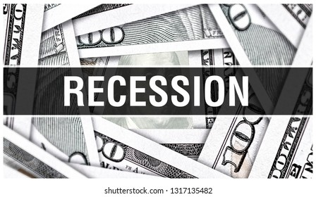 Recession Closeup Concept. American Dollars Cash Money,3D rendering. Recession business recovery at Dollar Banknote. Financial USA money banknote and commercial slump, downturn, slowdown