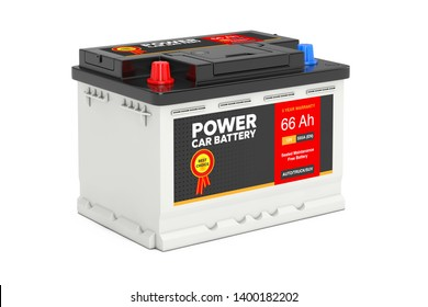 Rechargeable Car Battery 12V Accumulator with Abstract Label on a white background. 3d Rendering
