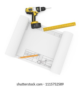 Rechargeable Cordless Drill, Pencil, Ruller and Compass Drawing with Drawing Template on a white background. 3d Rendering