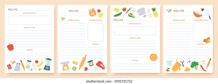 Recipe cards. Pages for culinary book decorated with ingredients and kitchen utensils. Food preparation icons. Cook card template  set