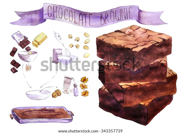 Recipe of of chocolate brownie  drawing by watercolor, hand drawn artistic painting illustration, aquarelle dessert