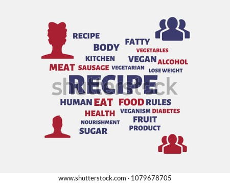 recipe image words associated topic nutrition stock illustration