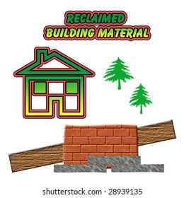 reclaim used building material bricks wood stone illustration on white