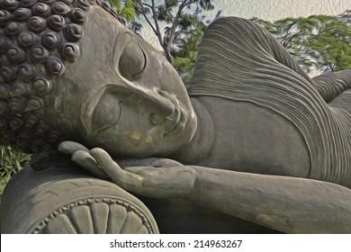 reclining buddha oil paint