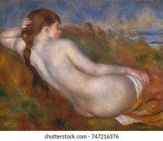 Reclining Nude, by Auguste Renoir, 1883, French impressionist painting, oil on canvas. In Renoir\x90s trip to Italy in 1881_82, he admired grandeur and simplicity of Renaissance art. After returning
