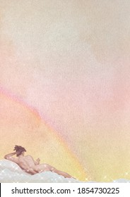 Reclining nude woman on a cloud background