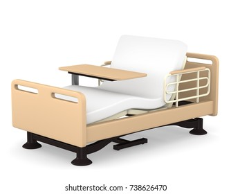 Reclining nursing care bed and table  3D illustration