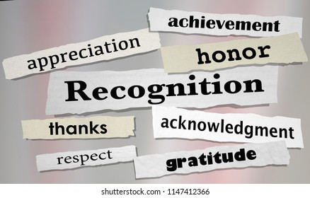 Recognition Achievement Appreciation Honor Headlines 3d Illustration
