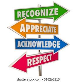 Recognize Appreciation Acknowledge Respect Signs 3d Illustration